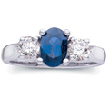 Ring featuring a Blue Sapphire and brilliant Diamonds