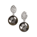 Cimmerian Tahitian Pearl Drops with Diamond Earrings