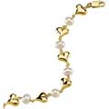 Yellow Gold Heart and Pearl Bracelet