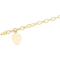 Hollow Hammered Link Bracelet with Classic Heart Charm