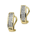 Invisibly set Princess Cut Diamond Earrings