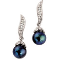 Cultured Black Pearl Dangle Earrings with Diamonds