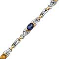 White and Yellow Gold Multi-Colored Gemstone Bracelet with Diamonds