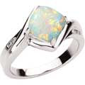 White gold and Opal Ring with Diamond accents
