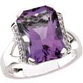 Fantasy Cut Amethyst Ring with Diamond accents