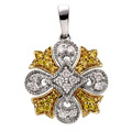 Yellow and White Diamonds Pendant