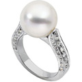 18K Platinum White Gold and South Sea Cultured Pearl Diamond Ring