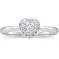 14K White Gold Ring with Pave-set Diamond Accents