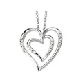 14K White Gold Heart Pendant with Diamond Accents on 18 inch Belcher Chain