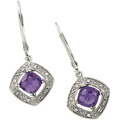 14K White Gold Earrings with Amethyst and Diamond accents