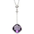14K White Gold Necklace with Amethyst and Diamond accents