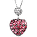 14K White Gold Pendant with Brazilian Garnets and Diamond Accents