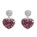 14K White Gold Earrings featuring Brazilian Garnets and Diamond accents