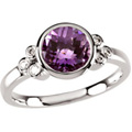 14K White Gold Ring with Bezel-set Amethyst and Diamond accents