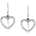14K White Gold Heart Earrings with Diamond Accents