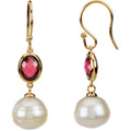 14K Yellow Gold Earrings with Freshwater Cultured Pearls and Rodolite Garnets