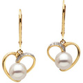 14K Yellow Gold Earrings with Freshwater Cultured Pearls and Diamond Accents