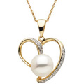 14K Yellow Gold Pendant with Freshwater Cultured Pearl and Diamond accents