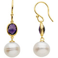 14K Yellow Gold Earrings with Freshwater Cultured Pearls and Amethysts