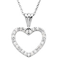 14K White Gold and Diamond Heart Necklace