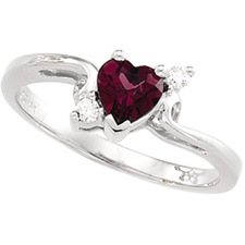 14K White Gold Ring with Rhodlite Garnet and Diamond accents