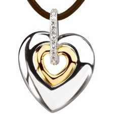 ST66825 Sterling Silver and 14K Yellow Gold Diamond Heart Pendant